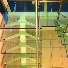 Building construction materials straight modern steel glass staircases stairway