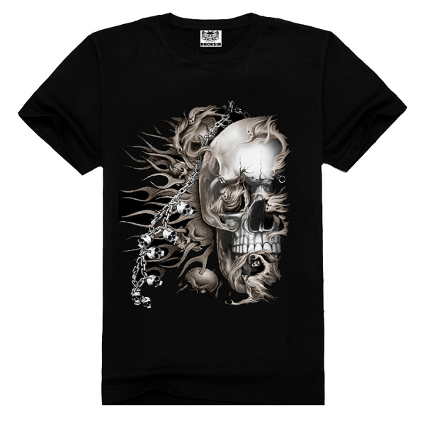 Skull tee shirt custom print cotton,tee shirt men,skull tee shirt