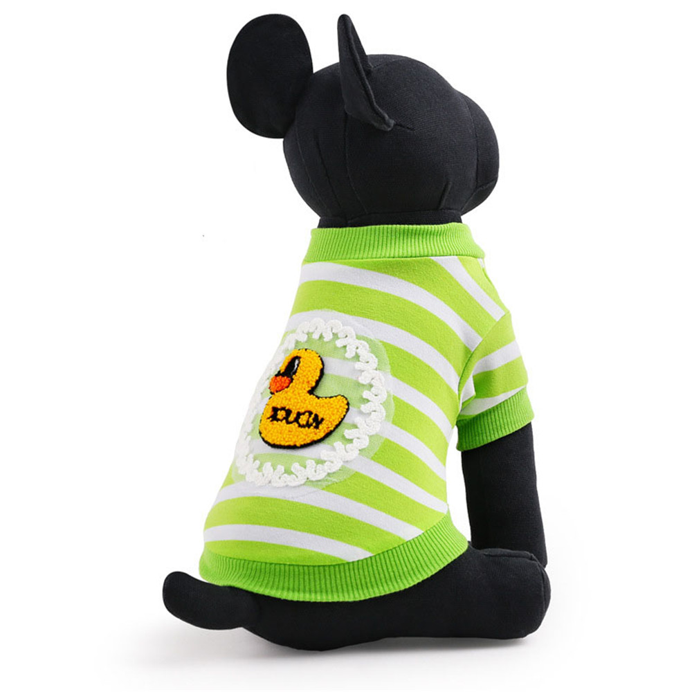 Cartoon Duck Stripe Pattern Small Green Pet Shirts Stocked Dog Clothes
