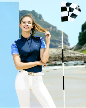 custome women dry fit contrast short sleeve golf shirt