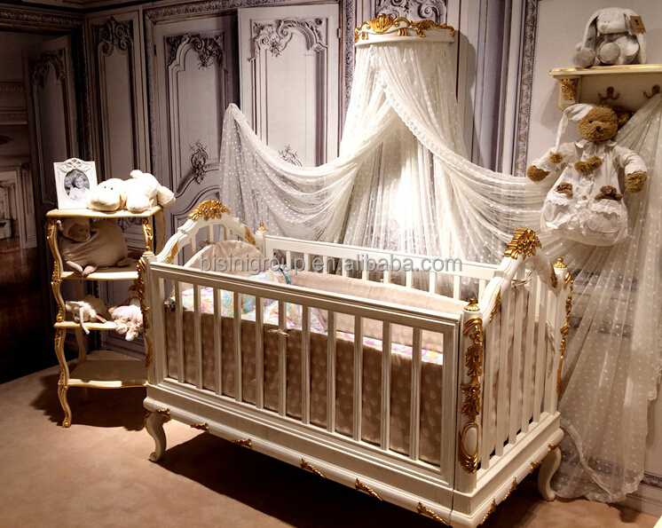 Bisini Luxury Wooden Baby Crib Royal Golden Hand Carving