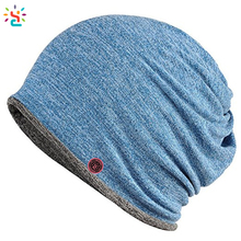Hot sale all in one men knit hat and scarf womens beanie ponytail blank hat pony tail slouchy beanie