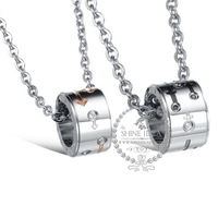 8*14mm/10*16mm Stainless steel round pendant charm fashion couple necklace wedding jewelry 6360345