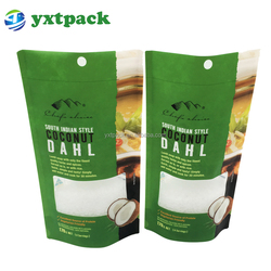 Front Clear Back Foil Plastic Ziplock Bag For Coconut Jerky / Sugar Packaging Stand Up Plastic Pouch Sachet