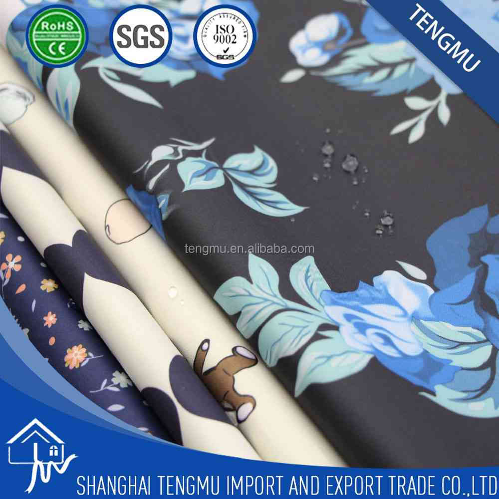 190T polyester pongee PU coated waterproof printing fabric