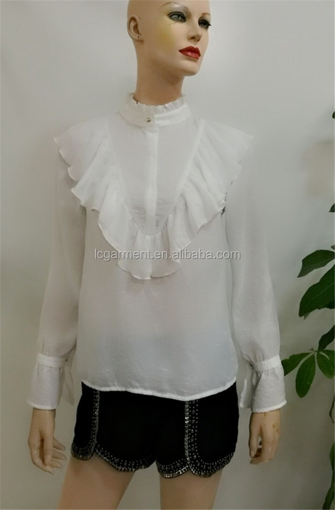 Fashion india wholesale clothing 2017 white blouse ruffle long sleeve stand collar chiffon blouse design