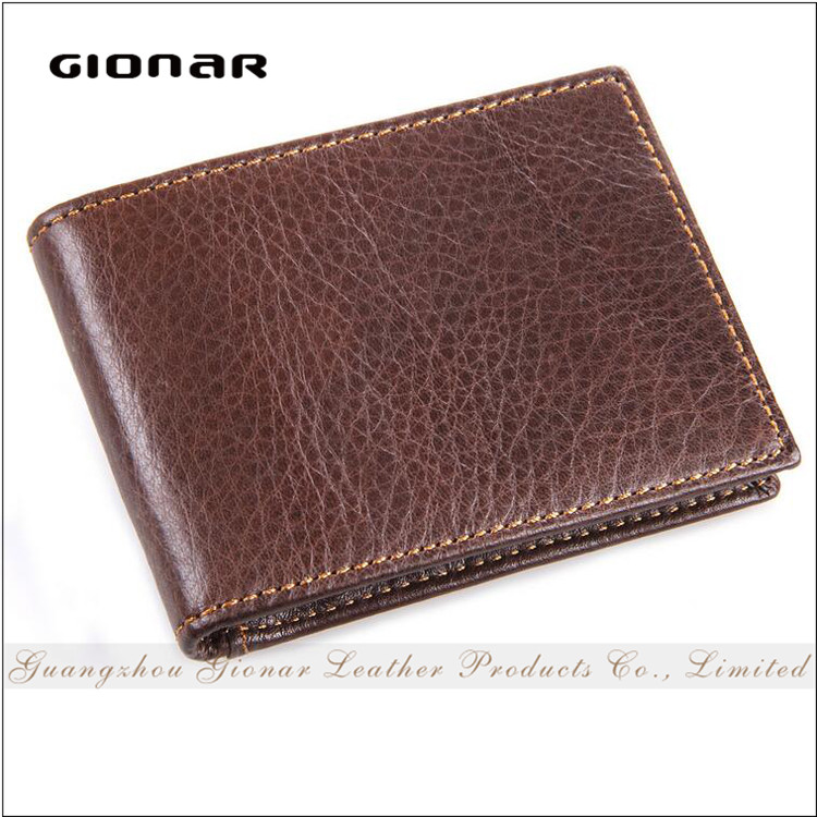 Factory On Line Shipping Cowhide Leather Men Credit Card Holder ID window Flap License Bifold Wallet
