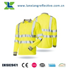 High Visibility Long Sleeve Running Men Reflective Safety Polo Shirt