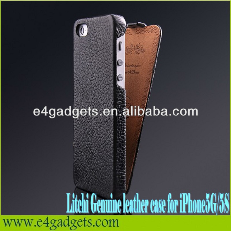 Top quality Vertical Flip Litchi Texture cowhide folio Leather Case for iPhone 5,for iphone5 flip case