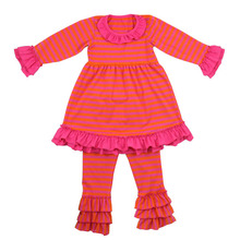 Childrens clothing kids cotton frocks design stripe ruffle pants sets girls cotton fall outfits boutique girl clothing