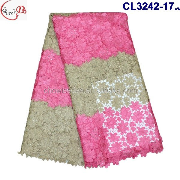 CL3242 Good quality nigerian style embroidery design lace dress fabric 2016 multicolors heavy guipure lace fabric with stones