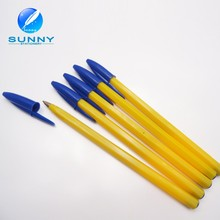 Wholesale cheap yellow barrel plastic stick pen bic crystal ball pen for promotion
