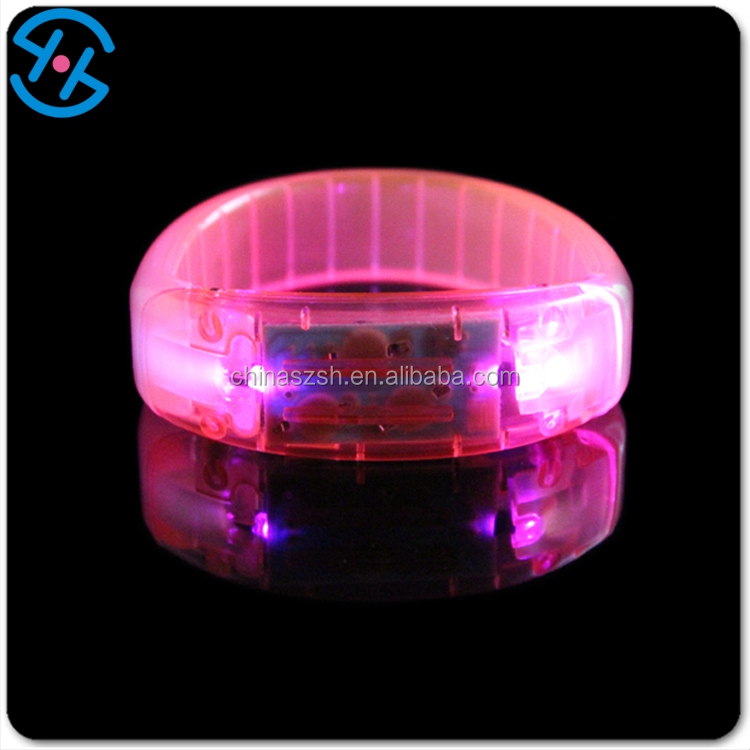 Sound activated SUNJET party supplies 2016 glow in the dark plastic led bracelet