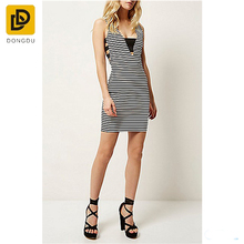 Wholesale New Design Black Stripe Sexy Pictures Of Girls V neck Dress And Picture Modern Fashion Model Bodycon Bandage Dresses