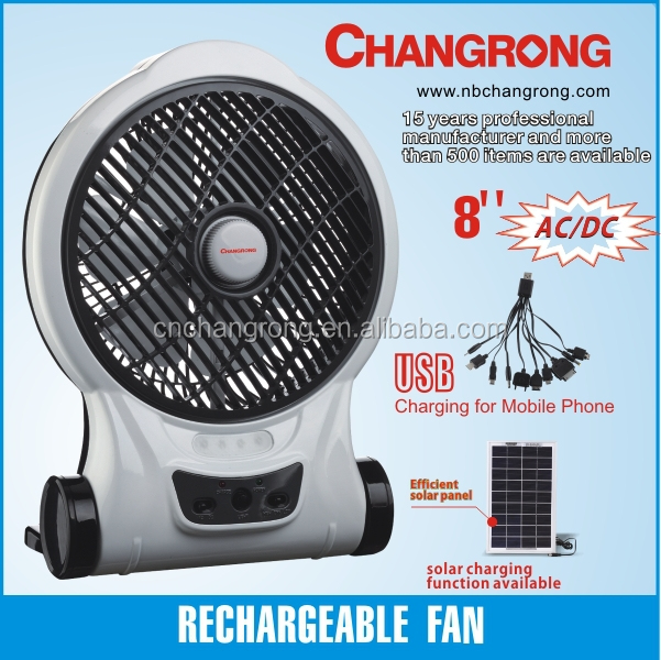 8 inch rechargeable solar portable desk fan with output USB