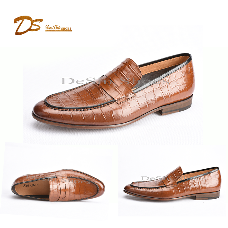 Waxed calf leather dress loafers man dress casual shoe 2017