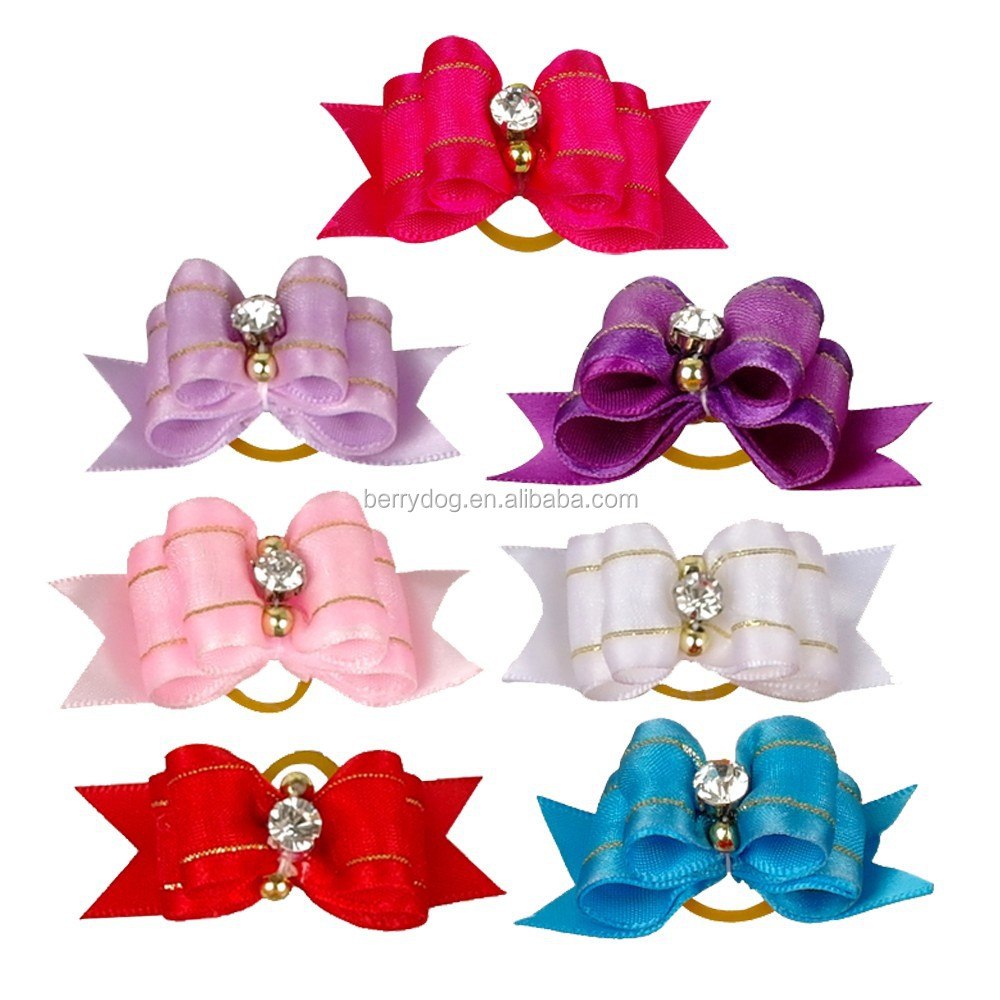 Dog Cat Puppy Hair Bows Mixed Colors Boutique Rhinestone Pet Grooming Accessories Wholesale lots of Headress