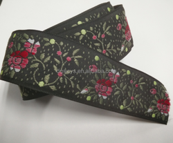 Custom width coloured/jacquard elastic ribbon 100%polyester jacquard ribbon embroidered trim