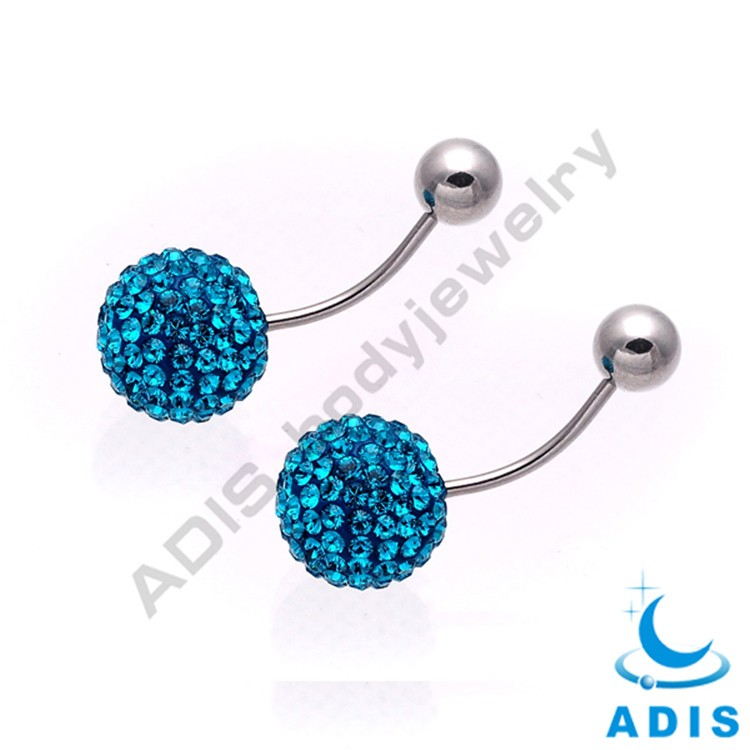 Fashion piercing wholesale custom gem navel ferrido ball jewelry