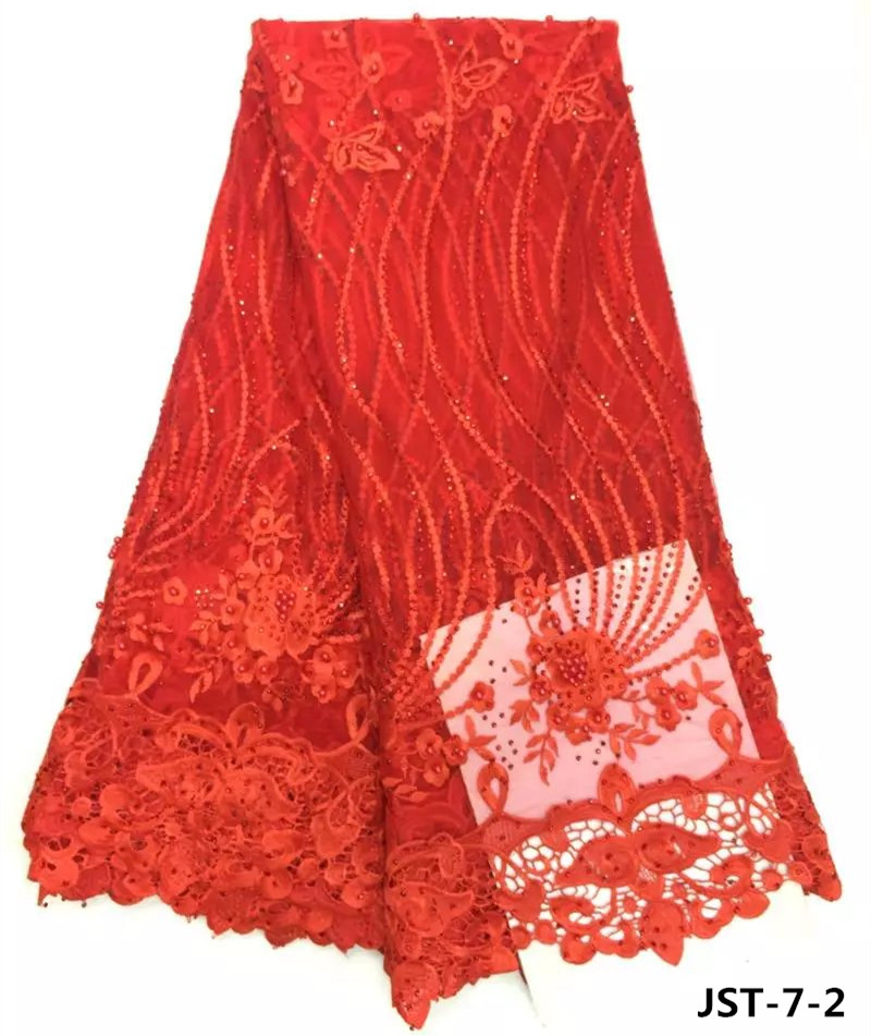Hot red embroidery african french lace fabric with beads for wedding dress