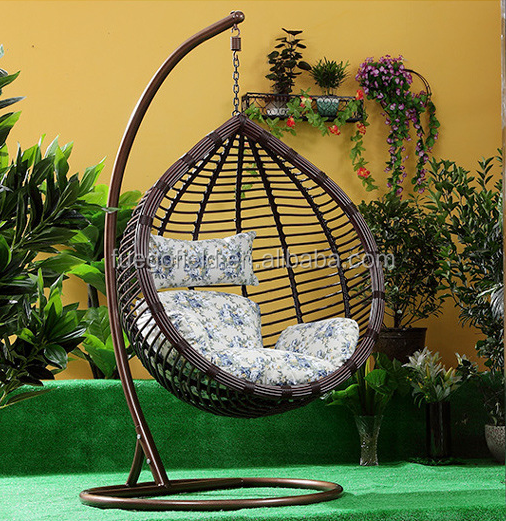 Outdoor rattan furniture wicker swing chair/hanging egg chair/garden hanging chair cushion for sales