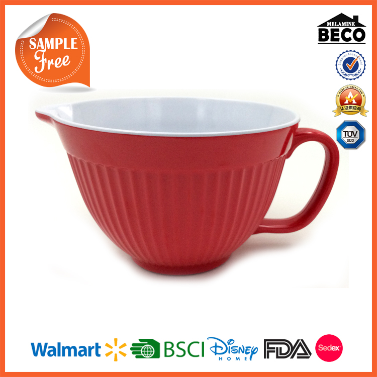 Kitchen Jug Red Melamine Mixing Bowl with Spout and Handle