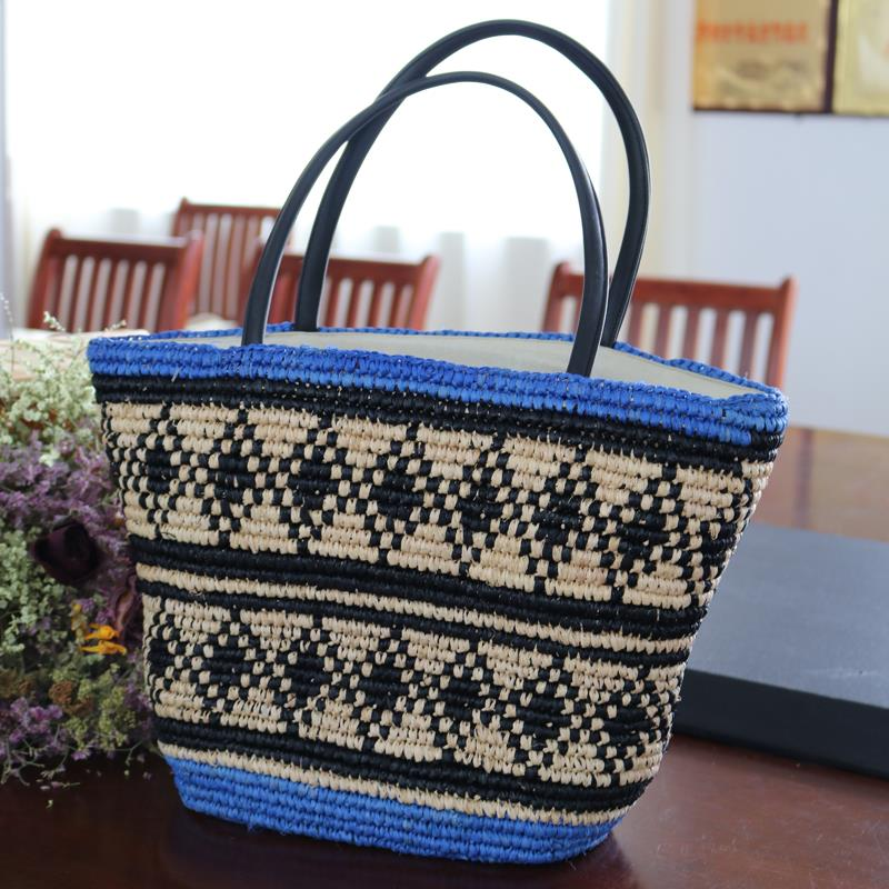 Women fashion large shopping travel raffia straw bag