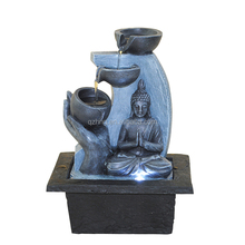 polyresin buddha waterfall mini desktop water fountain