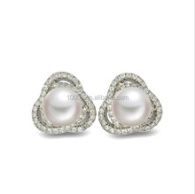 Valentine gift! Flower garland sterling silver pearl stud earring wholesale