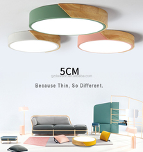 China supplier new ceiling light round Macaron wood 20/28/36w led ceiling lamp fixture
