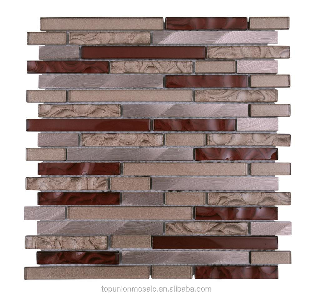 Cold spray mix aluminium chips mosaic tiles glass mosaic tiles for wall