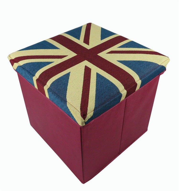 2016 durable canvas fabric folding storage stool for living room