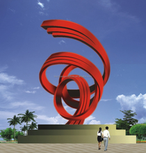 Abstract stainless steel flying sculpture painted red