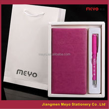 Promotional PU Leather Notebook Pen High School 2pcs Gift Item,Office gift set,Weeding Gift set