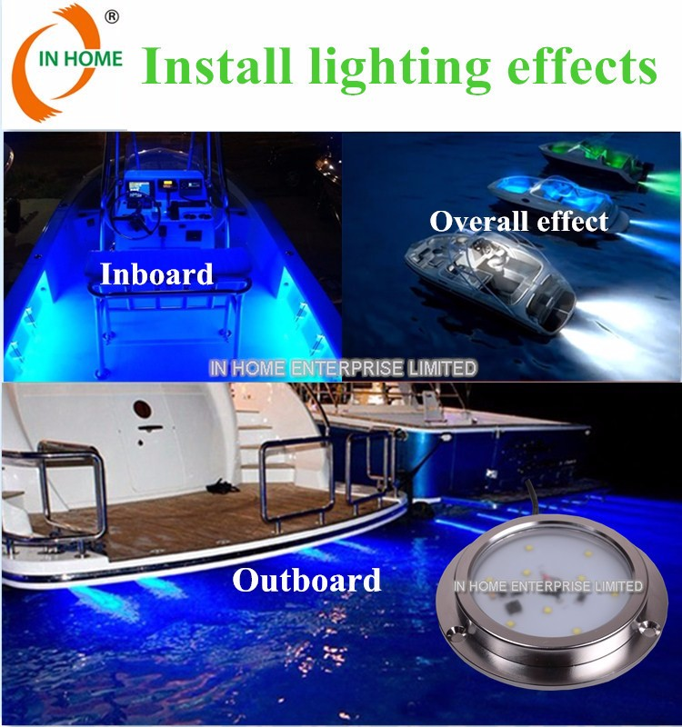 Hot selling 6w IP68 RGB led marine light for yacht, marine ,boat, pool light