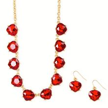 Red Crystals Necklace and Drop Earrings Set