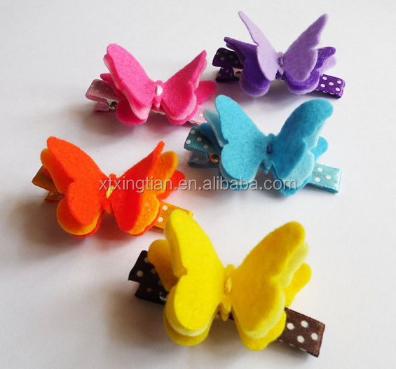 Wholesale High Quality Baby&Girls Felt Butterfly Hair Clip Bow Hair Clips