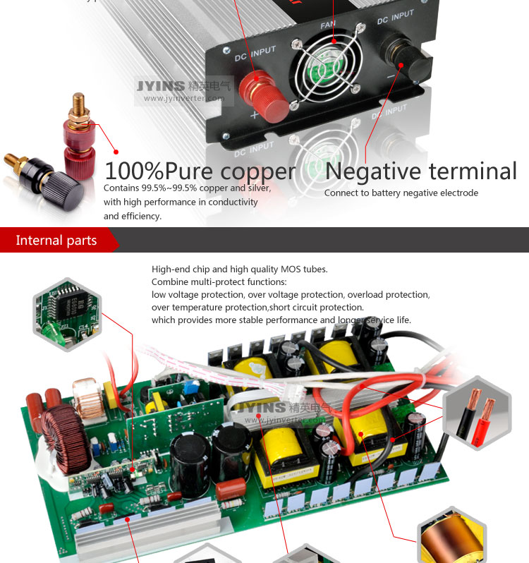 Dc to ac 2000W pure sine wave off grid solar power inverter
