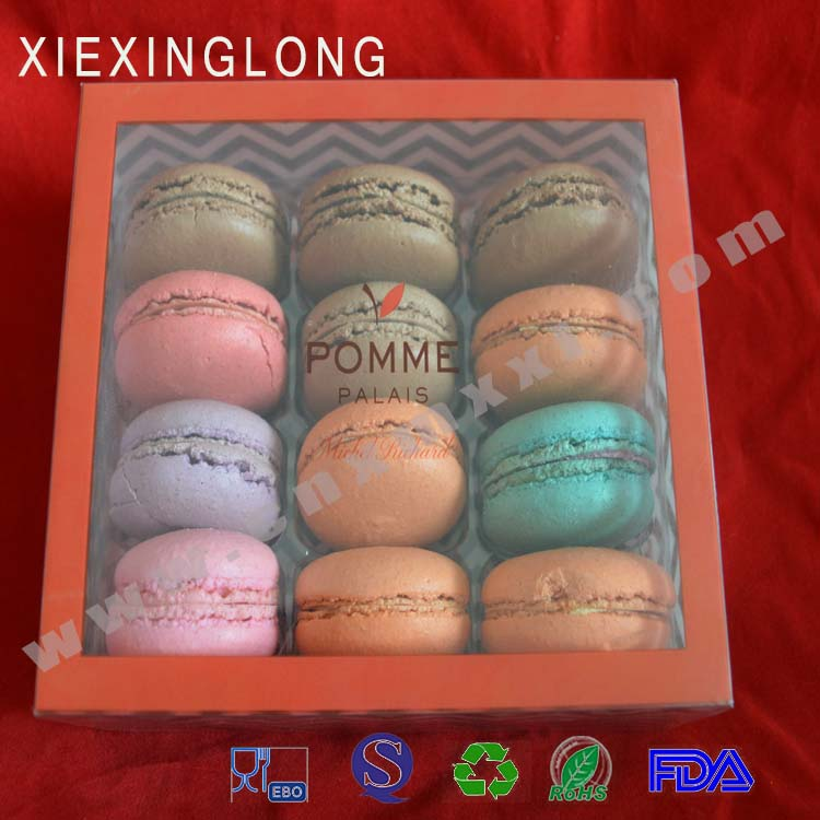 macarons and cakes and cookies and chocolates clear transparent PET PVC PP plastic boxes with printed logo image