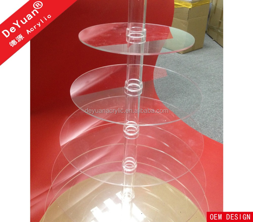High Clear Crystal Bubble Rod Acrylic Rotating Cake Stand