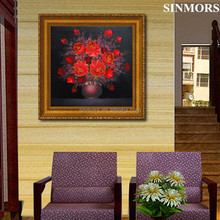Wholesale Red Flower Design Wall Art Acrylic 5D DIY Diamond Painting