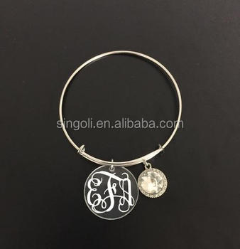 Clear acrylic disc charm bracelet with sparkling gemstone for monogram