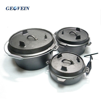 2017 hot sale camping kitchen ware cast iron picnic cauldron