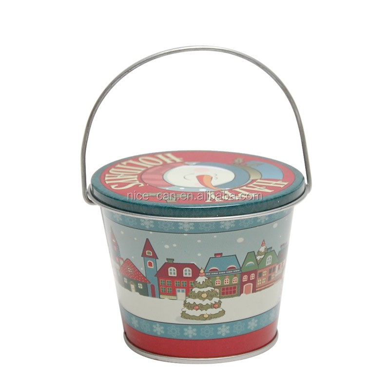 Food grade customize christmas popcorn tin bucket with lid for Christmas tin pails