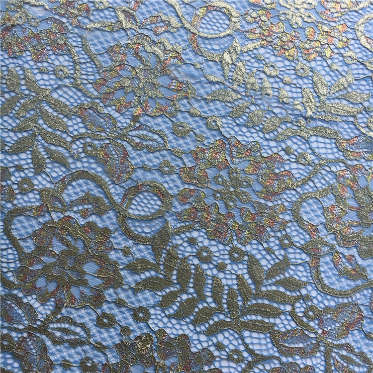 S1470 10 years experience French nylon gold lace dress fabric wholesale