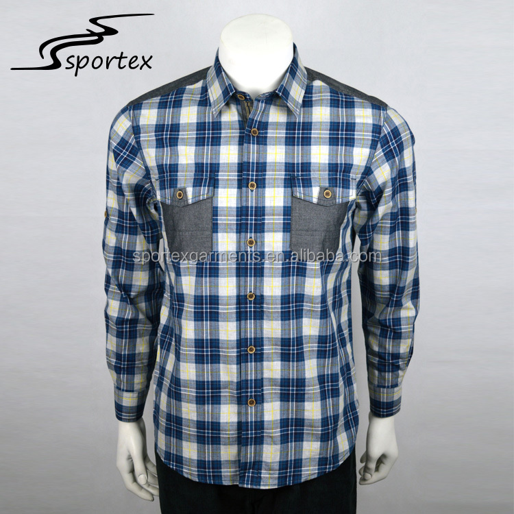 Latest style custom long sleeve spring and autumn grid checked casual outdoor plaid shirts for men