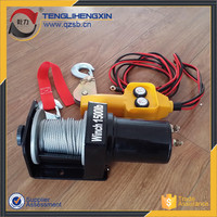 small portable 1500lbs atv dc engine capstan 12v electric winch motor