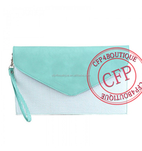 CFP B088 New Products Stocked Seersucker Leather Top Envelop Clutch