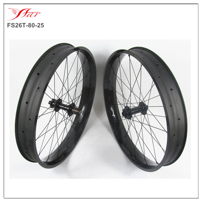 650C 26er carbon fat bike wheels 80mm 25mm carbon fat wheel double wall bike with Bitex FB hub 32H 3K glossy