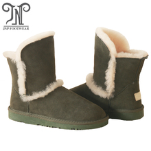 half calf height leather upper furry antislip snow boots